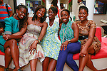 (Left to right) Somi, Lola Ogunnaike, Nikki Ogunnaike, Nana Eyeson-Akiwowo and Kimberly Wilson Marshall sitting together during the African Health Now - Fashion Fete event, at the Tracy Reese store on 641 Hudson Street, June 20, 2013.