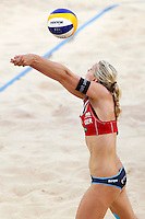 Germany's Karla Borger in action at the Beach Volleyball World Tour Grand Slam, Foro Italico, Rome, 22 June 2013. Brazil defeated Germany 2-1.<br /> UPDATE IMAGES PRESS/Isabella Bonotto