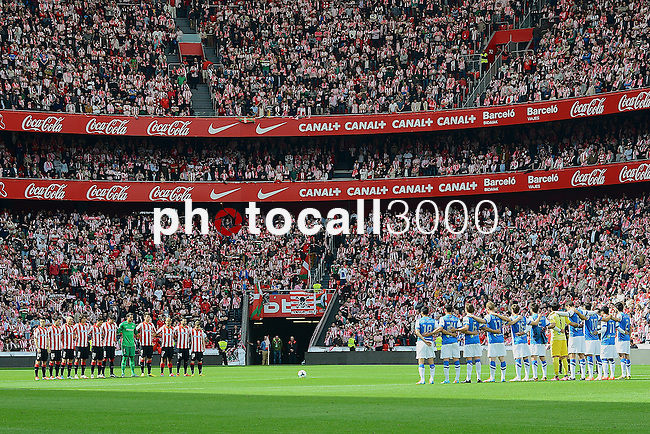Football macht during La Liga BBVA.<br /> Athletic Club - Real Sociedad<br /> minute of duel for the children killed in traffic accident