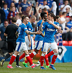Rangers goalscorers Barrie McKay and Joe Garner celebrate