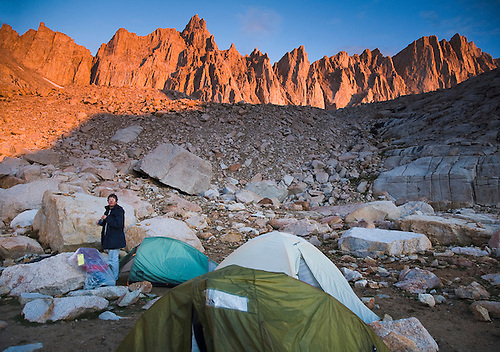 Waking up at Trail Camp below Mt. Whitney, California, the highest point in Continental US at 14,494 feet