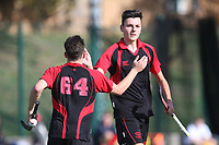 Havering celebrate their first goal during Havering HC 2nd XI vs Saffron Walden HC 3rd XI, East Region League Field Hockey at Campion School on 13th October 2018