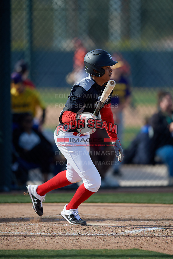 Jaider Morelos during the Under Armour All-America Pre-Season Tournament, powered by Baseball Factory, on January 19, 2019 at Fitch Park in Mesa, Arizona.  Jaider Morelos is a shortstop from Windham, New Hampshire who attends Northside Christian School and is committed to Florida International University.  (Mike Janes/Four Seam Images)