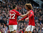 Henrikh Mkhitaryan of Manchester United celebrates scoring the second goal with Marouane Fellaini of Manchester United during the premier league match at the Old Trafford Stadium, Manchester. Picture date 17th September 2017. Picture credit should read: Simon Bellis/Sportimage