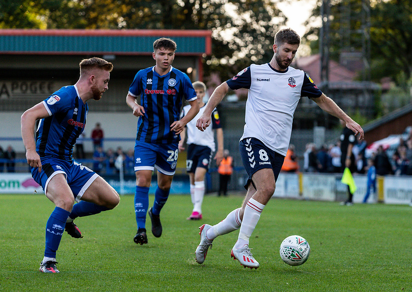 Bolton Wanderers' Luke Murphy (right) breaks away from Rochdale's Aaron Morley (left) <br /> <br /> Photographer Andrew Kearns/CameraSport<br /> <br /> The Carabao Cup First Round - Rochdale v Bolton Wanderers - Tuesday 13th August 2019 - Spotland Stadium - Rochdale<br />  <br /> World Copyright © 2019 CameraSport. All rights reserved. 43 Linden Ave. Countesthorpe. Leicester. England. LE8 5PG - Tel: +44 (0) 116 277 4147 - admin@camerasport.com - www.camerasport.com