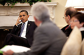 Washington, DC - June 2, 2009 -- United States President Barack Obama listens to White House Counsel Gregory Craig during an Oval Office meeting with Senior Advisors, June 2, 2009. .Mandatory Credit: Pete Souza - White House via CNP