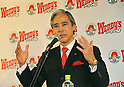 December 27, 2011, Tokyo, Japan - Ernest M. Higa, president & CEO of Higa Industries, makes a statement, celebrating the re-launch of Wendys first hamburger restaurant in Tokyo on Tuesday, December 27, 2011. In December 2009, Wendys did not renew its franchise agreement with its former franchisee for Japan, resulting in the closure of 71 restaurants. Wendys/Arbys International Inc and Higa Industries signed a joint venture agreement to develop and operate Wendys restaurants in Japan. Wendys Japan plans to open 100 stores in the next five years. (Photo by Natsuki Sakai/AFLO) [3615] -mis-