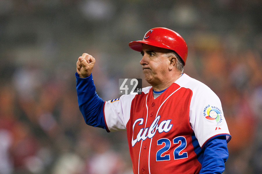18 March 2009: Third base coach Carlos Cepero of Cuba is seen during the 2009 World Baseball Classic Pool 1 game 5 at Petco Park in San Diego, California, USA. Japan wins 5-0 over Cuba.