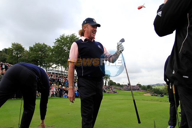 Miguel Angel Jiminez tees off on the 17th tee during Practice Day 3 of the The 2010 Ryder Cup at the Celtic Manor, Newport, Wales, 29th September 2010..(Picture Eoin Clarke/www.golffile.ie)