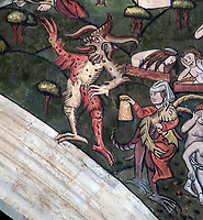 BNPS.co.uk (01202 558833)<br /> Pic: PhilYeomans/BNPS<br /> <br /> Even the Devil puts in an appearance...<br /> <br /> Doom finally has its day! - A 500 year old 'Day of Judgement' painting, that has survived Henry VIII th, the Puritans and even Victorian prudery has been restored to its former glory.<br /> <br /> Thought to be the largest medieval 'Doom' painting in the country, the striking image been painstakingly restored after a tumultuous 500 year history on the chancel arch of St Thomas Becket church in Salisbury.<br /> <br /> Originally painted in the 15th century, the chancel was white-washed during the Reformation before being uncovered nearly 300 years later in the early 19th century. <br /> <br /> Prudish Victorian's shocked by the naked images then recovered it before it finally re-emerged in 1881 as opinions relaxed. <br /> <br /> Experts have spent three months conserving the faded painting, which included injecting lime slurry behind areas of paint to affix them again to the wall. and delicately 'touching up' in places before finishing it with varnish to bring out its colour.<br /> <br /> Most pre 16th century churches and cathedrals in Britain would have been plastered with religious images and iconography to encourage their often illiterate congregation to good behaviour.<br /> <br /> But during Henry VIII th Protestant Reformation churches were stripped of all graven imagery and the paintings were either whitewashed over or completely destroyed.<br /> <br /> Because of this very few works still survive today making the Salisbury fresco a truly remarkable survivor.<br /> <br /> The restoration is part of a larger set of works at the historic church which are due to cost £1.5million.