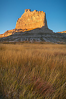 Scotts Bluff National Monument, Nebraska:<br /> Scotts Bluff rises above prairie grasses in evening light