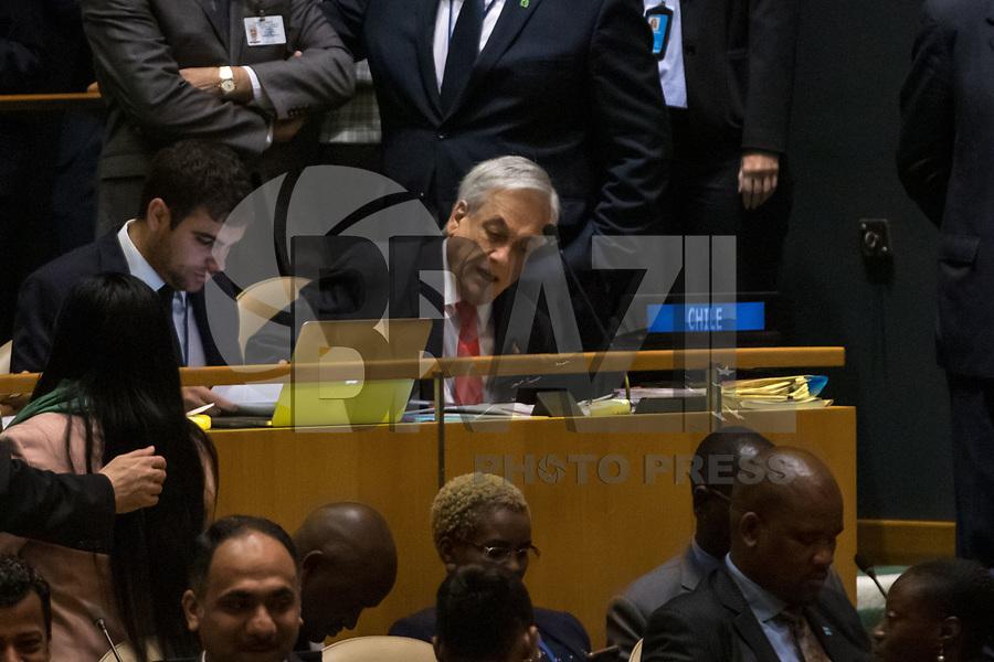 Nova York (EUA), 24/09/2019 - Assembléia Geral / ONU - O presidente do Chile Sebastián Piñera durante abertura da 74ª Assembleia Geral da Organização das Nações Unidas (ONU)  em Nova York nos Estados Unidos nesta terça-feira, 24. (Foto: William Volcov/Brazil Photo Press/Agencia O Globo) Mundo