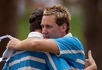 European Team players Ian Poulter and partner Justin Rose embrace after winning the match on the 15th green during the Morning Foursomes on Day 2 of the Ryder Cup at Valhalla Golf Club, Louisville, Kentucky, USA, 20th September 2008 (Photo by Eoin Clarke/GOLFFILE)