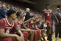 NWA Democrat-Gazette/CHARLIE KAIJO Arkansas Razorbacks players get ready to enter the court before the first half of the NCAA National Invitation Tournament, Saturday, March 23, 2019 at the Simon Skjodt Assembly Hall at the University of Indiana in Bloomington, Ind. The Arkansas Razorbacks fell to the Indiana Hoosiers 63-60.