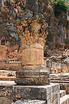 A carved stone pillar and capital among the ruins of the Greco-Roman religious center of Panias at Caesarea Philippi in the Hermon Springs (Banyas) Nature Reserve, a national park in northern Israel at the base of Mount Hermon.