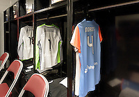 The Houston Dash locker room prior to their game with the Chicago Red Stars on Saturday, April 16, 2016 at BBVA Compass Stadium in Houston Texas.