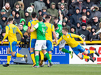 9th February 2020; Indodrill Stadium Alloa, Alloa Clackmannashire, Scotland; Scottish Cup Football, BSC Glasgow versus Hibernian; Ross Smith of BSC Glasgow FC pulls a goal back with diving head to make it 1-2 in the 38th minute