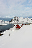 The fishing village of Hamnoy, near Reine, on Moskenesoya Island, Lofoten Islands, Arctic, Northern Norway.