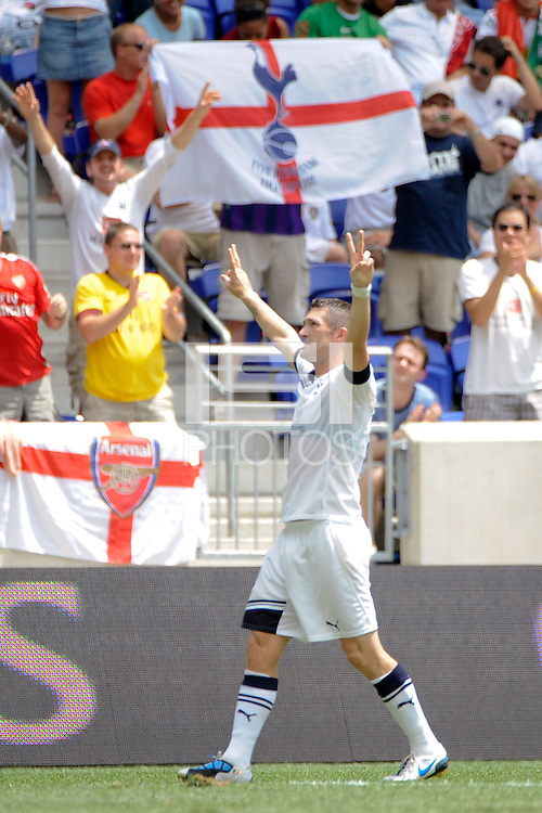 Robert Keane (10) of Tottenham Hotspur F. C. celebrates scoring against Sporting Clube de Portugal during a Barclays New York Challenge match at Red Bull Arena in Harrison, NJ, on July 25, 2010.
