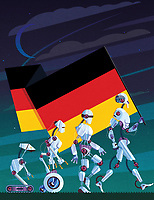 Evolution of robots carrying German flag