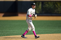 Wake Forest Demon Deacons shortstop Bruce Steel (17) on defense against the Virginia Tech Hokies at Wake Forest Baseball Park on March 7, 2015 in Winston-Salem, North Carolina.  The Hokies defeated the Demon Deacons 12-7 in game one of a double-header.   (Brian Westerholt/Four Seam Images)