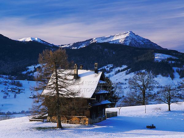 Farm house and Mount Rigi and Pilatus, Oberaegeri, Zug, Switzerland, Europe