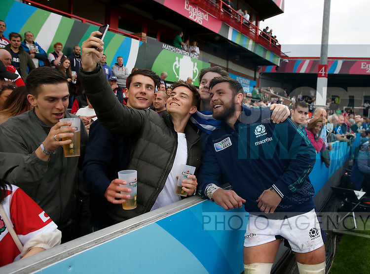 Ryan Wilson of Scotland has a selfie with fans at the end of the match - Rugby World Cup 2015 - Pool B - Scotland vs Japan - Kingsholm Stadium - Gloucester - England - 23rd September 2015 - Picture Simon Bellis/Sportimage
