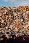 Garbage, A landfill on a river estuary, Snohomish River Estuary, Washington State, Pacific Northwest, USA in the 1980's