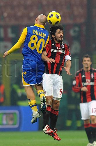 12 02 2011  Francesco Valiani Parma and Rino Gattuso Milan  Stadio Meazza AC Milan versus Parma  Campionato Italiano Series A