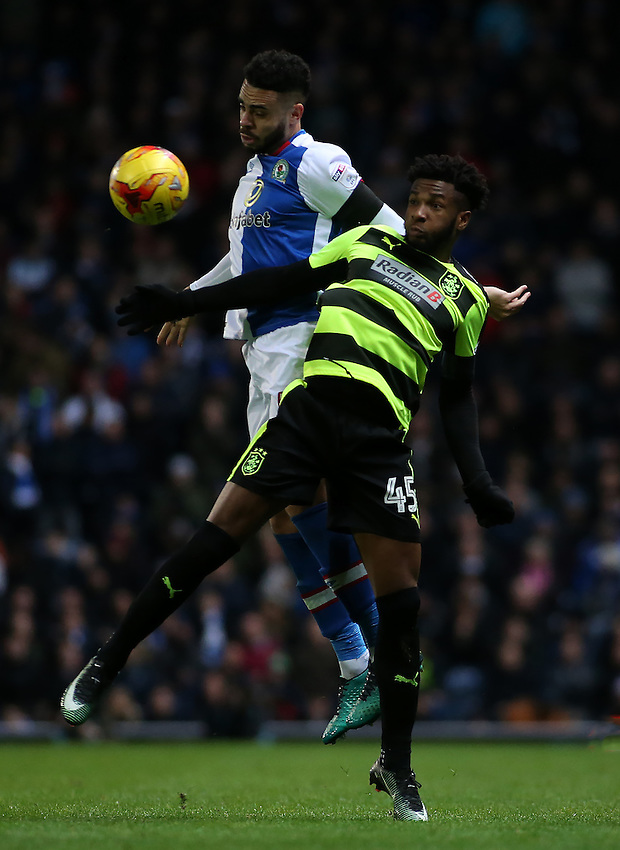 Blackburn Rovers' Derrick Williams battles with Huddersfield Town's Kasey Palmer<br /> <br /> Photographer David Shipman/CameraSport<br /> <br /> The EFL Sky Bet Championship - Blackburn Rovers v Huddersfield Town - Saturday 3rd December 2016 - Ewood Park - Blackburn<br /> <br /> World Copyright &copy; 2016 CameraSport. All rights reserved. 43 Linden Ave. Countesthorpe. Leicester. England. LE8 5PG - Tel: +44 (0) 116 277 4147 - admin@camerasport.com - www.camerasport.com