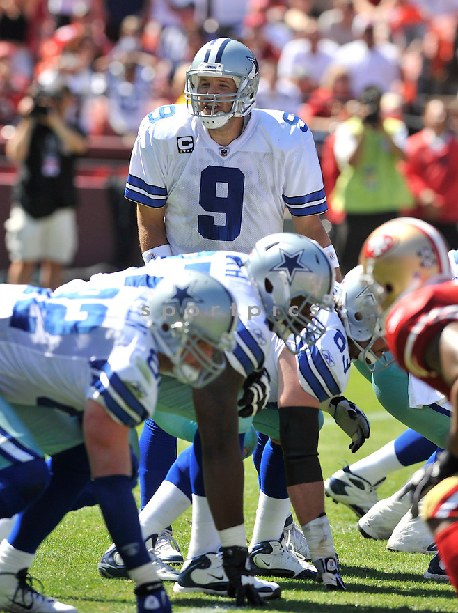 TONY ROMO, of the Dallas Cowboys, in action during the Cowboy's game against the 49ers on September 18, 2011 at Candlestick Park in San Francisco, CA. The Cowboys beat the 49ers 27-24 in OT.
