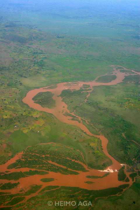 TISSISAT, GOJJAM/ETHIOPIA..The Blue Nile near the waterfalls, approyimately 35kms downriver from its origin at Bahar Dar/Lake Tana..Seen from an Ethiopian Airlines Fokker 50 on the way to Addis Ababa..(Photo by Heimo Aga)