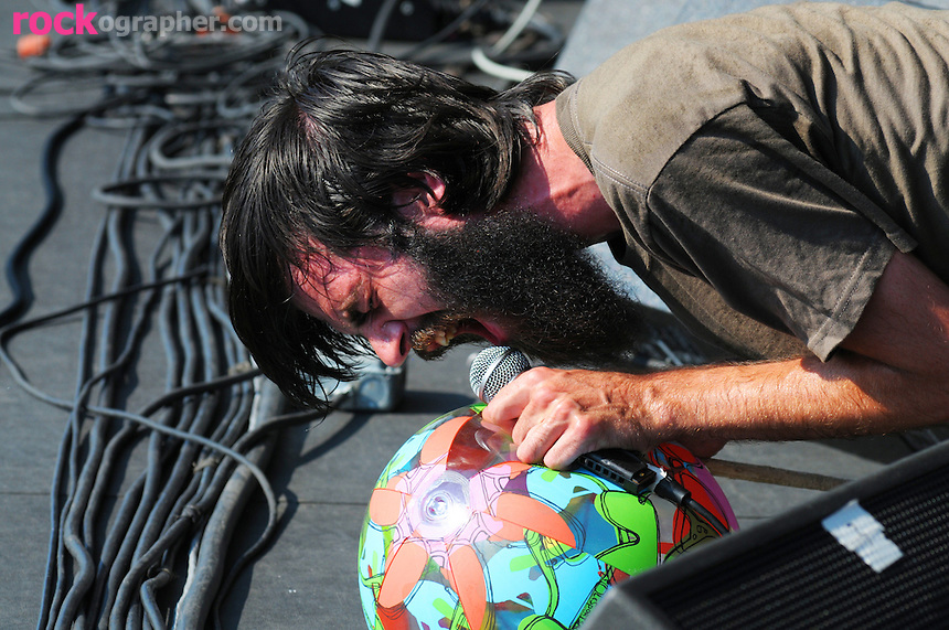 Liam Betson of New Jersey punk band Titus Andronicus performs at the final Pool Parties Concert in McCarren Park  , Brooklyn NYC