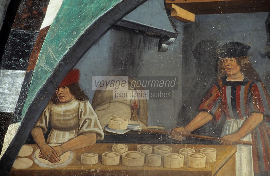 Europe/Italie/Val d'Aoste/Issogne: Château d'issogne -  Détail des fresques du vestibule  et des  portiques représentant des scénes de la vie quotidienne:le boulanger