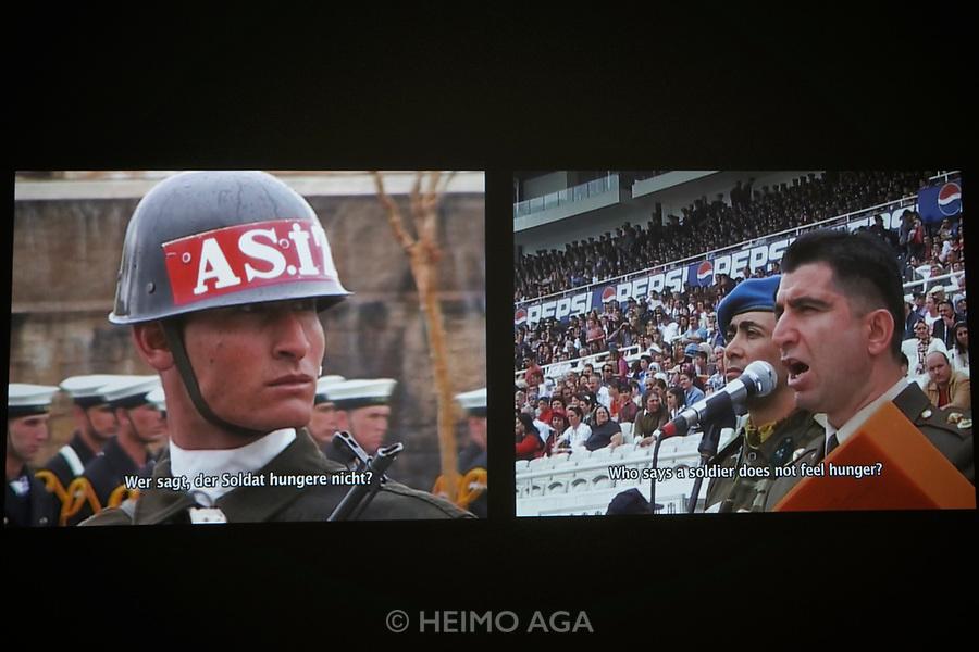 Kassel, Germany. Opening days of documenta14.<br /> Fridericianum.<br /> K&ouml;ken Ergun: I, Soldier, 2005