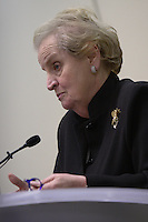 Former U.S. Secretary of State Madeleine Albright provided brief remarks and answered questions at a women's economic forum in support of democratic presidential candidate Barack Obama, on Tuesday, Sept. 30, 2008, at the Westerville Public Library in Westerville, Ohio. Albright discussed Barack Obama's plan to renew focus on international diplomacy. (Kevin Craiglow/pressphotointl.com)