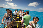 Tourists wait on top of the yellow submarine Deepstar in the the lagoon on the west coast of Saipan..Robert Gilhooly Photo