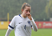 20190409  - Tubize , BELGIUM : Finland's Joanna Filippa Kilponen pictured disappointed after  the soccer match between the women under 19 teams of Switzerland and Finland , on the third matchday in group 2 of the UEFA Women Under19 Elite rounds in Tubize , Belgium. Tuesday 9 th April 2019 . PHOTO DIRK VUYLSTEKE / Sportpix.be
