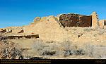 Southeast Walls, Pueblo del Arroyo Chacoan Great House, Anasazi Hisatsinom Ancestral Pueblo Site, Chaco Culture National Historical Park, Chaco Canyon, Nageezi, New Mexico