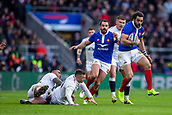 10th February 2019, Twickenham Stadium, London, England; Guinness Six Nations Rugby, England versus France; Jonny May of England misses a tackle on Yoann Huget of France
