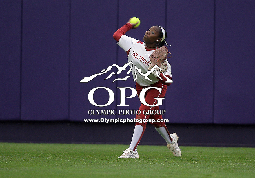 28 May 2010:  Oklahoma center fielder Krystle Huey fires the ball to second base against Washington.  Washington defeated Oklahoma 3-0 in the second game of the NCAA Super Regional at Husky Softball Stadium in Seattle, WA.