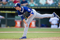 Oklahoma City Dodgers pitcher Deck McGuire (46) follows through on his pitch during the Pacific Coast League baseball game against the Round Rock Express on June 9, 2015 at the Dell Diamond in Round Rock, Texas. The Dodgers defeated the Express 6-3. (Andrew Woolley/Four Seam Images)