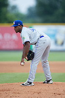 Bluefield Blue Jays starting pitcher Yennsy Diaz (45) looks to his catcher for the sign against the Burlington Royals at Burlington Athletic Stadium on June 27, 2016 in Burlington, North Carolina.  The Royals defeated the Blue Jays 9-4.  (Brian Westerholt/Four Seam Images)