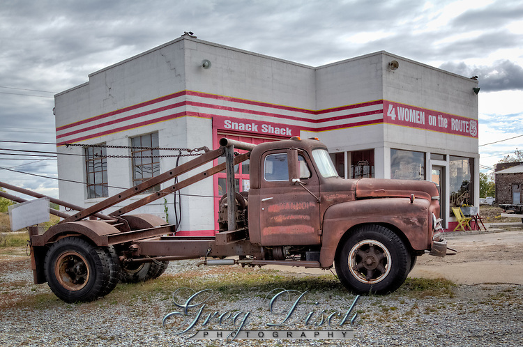 """Tow Tater"" is the inspiration for the character of ""Tow Mater"" in the movie ""Cars"".  The 1951 International truck sits at the Historic Kan-O-Tex service station in Galena Kansas on route 66.  The station has been restored and is now ""4 Women on the Route"" a sandwich and gift shop featuring route 66 and ""Car's"" items.  The station is now named ""Cars on the Route"""