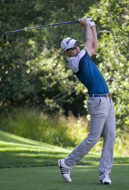 Martin Lard swings during the Barracuda Championship PGA golf tournament at Montrêux Golf and Country Club in Reno, Nevada on Sunday, July 28, 2019.