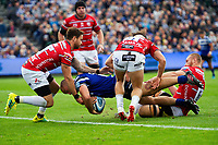 Tom Dunn of Bath Rugby scores a try in the second half. Gallagher Premiership match, between Bath Rugby and Gloucester Rugby on September 8, 2018 at the Recreation Ground in Bath, England. Photo by: Patrick Khachfe / Onside Images