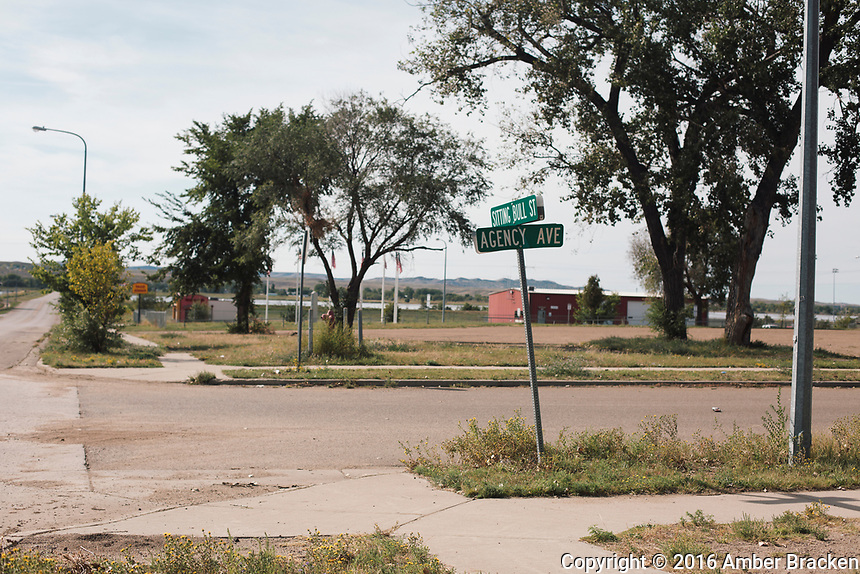 Sitting Bull Street and Agency Ave in Fort Yates, the tribal headquarters, on the Standing Rock Reservation in ND on Sunday, September 11, 2016.