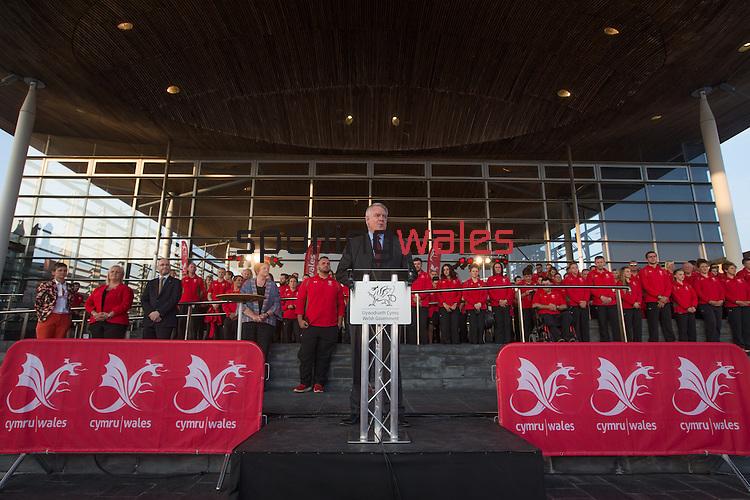 Glasgow 2014 Comonwealth Games<br /> Team Wales reception<br /> First Minister Carwyn Jones.<br /> Senedd<br /> 10.09.14<br /> &copy;Steve Pope-SPORTINGWALES