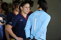 Cat Whitehill and Hope Solo await the game start from the tunnel. The USWNT defeated Iceland (2-0) at Vila Real Sto. Antonio in their opener of the 2010 Algarve Cup on February 24, 2010.
