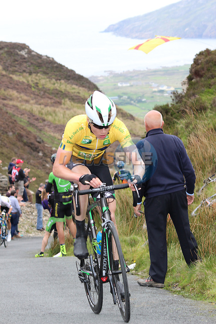 Race leader Dennis Bakker Netherlands Candidacy Team Delta rider on the first Cat 1 climb Mamore Gap during Stage 4 of the 2017 An Post Ras running 151.8km from Bundoran to Buncrana, Ireland. 24th May 2017.<br /> Picture: Andy Brady | Cyclefile<br /> <br /> <br /> All photos usage must carry mandatory copyright credit (&copy; Cyclefile | Andy Brady)